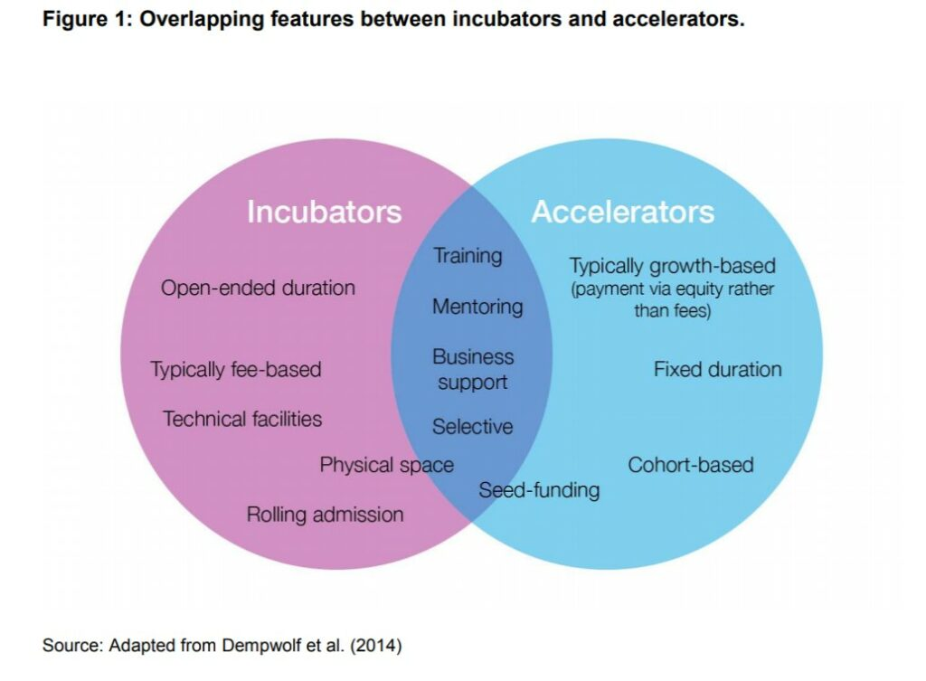 Venn diagram showing the overlapping features between accelerators and incubators